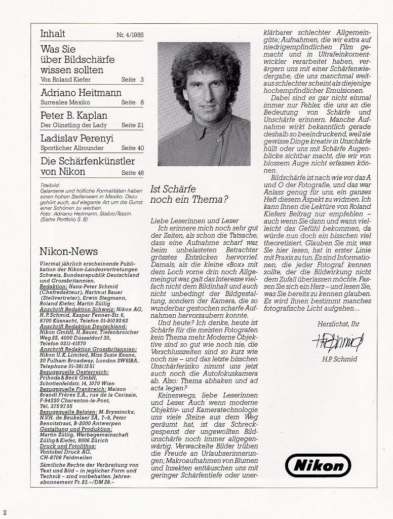 Intro Nikon News 4-1985