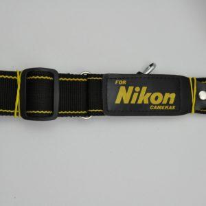 Nikon Schulterriemen gelb-schwarz breit mit Lederschriftzug
